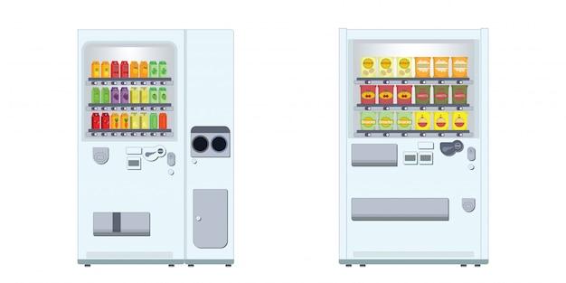 Máquina de venda automática com lanches e bebidas.
