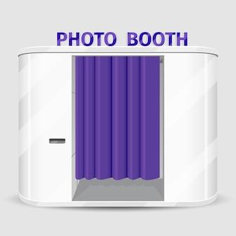 Máquina de venda automática de cabine fotográfica branca. serviço de máquina fotográfica, sessão rápida de cabine. ilustração vetorial