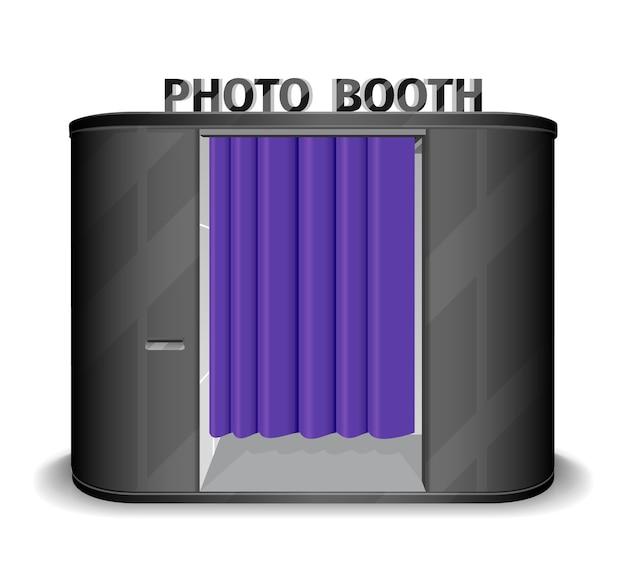 Máquina de venda automática de cabine fotográfica preta.