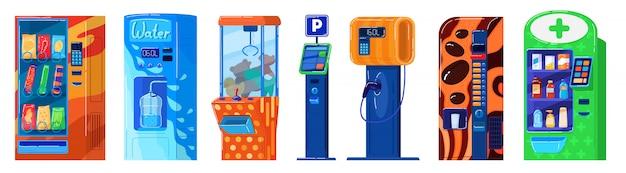 Máquina de venda automática em branco, estacionamento, lanches e água, posto de gasolina e brinquedos, ilustração