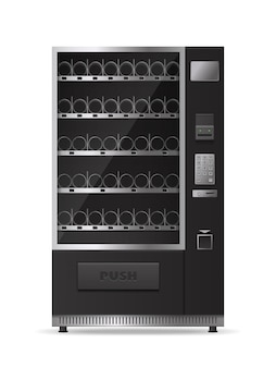 Máquina de venda automática moderna vazia monocromática para venda de bebidas e lanches isolada