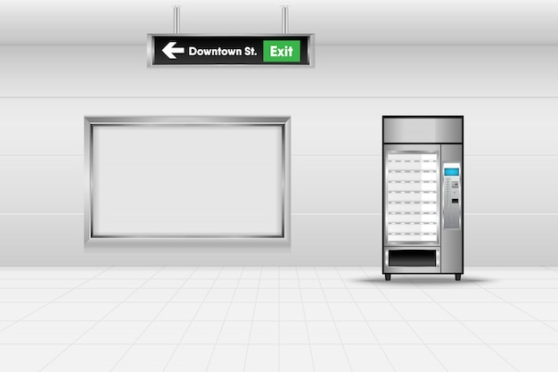 Máquina de venda automática na estação de metrô, cena do conceito