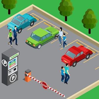 Máquina de venda automática na zona de estacionamento e pessoas perto de seus carros 3d isométrico
