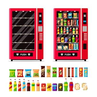 Máquina de venda automática vazia e completa com os petiscos e as bebidas isolados no fundo branco.