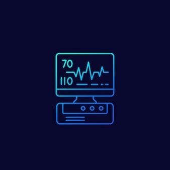Máquina ecg, ícone linear de diagnóstico de coração