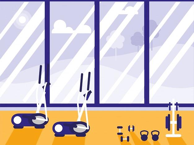 Máquina elíptica com pesos esporte ginásio