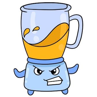 Máquina liquidificadora está misturando massa com esforço de cara zangada, arte de ilustração vetorial. imagem de ícone do doodle kawaii.