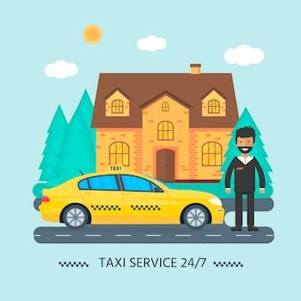 Máquina táxi amarelo com motorista e casa