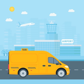 Máquina táxi amarelo com motorista na cidade.