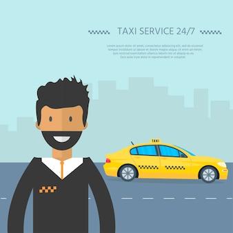 Máquina táxi amarelo com motorista