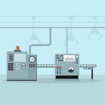 Maquinaria automatizada em uma linha de controle e produção