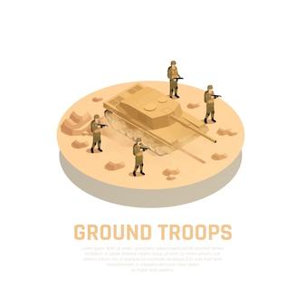 Maquinaria para uso militar redonda composição isométrica com militares das tropas terrestres armadas e veículo de combate a tanques