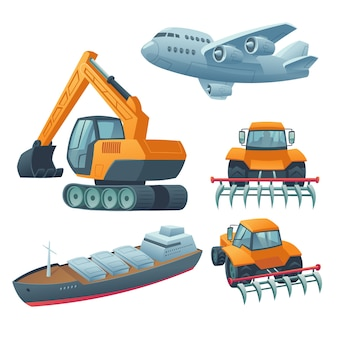 Maquinaria pesada, avião e navio de carga