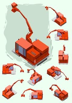 Maquinário de construção isométrica e vetor de transporte