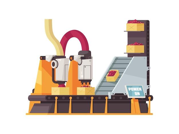 Maquinário de planta automatizada enchendo caixas no plano do transportador