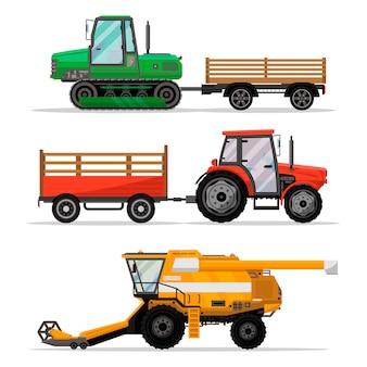 Máquinas agrícolas pesadas para trabalho de campo.