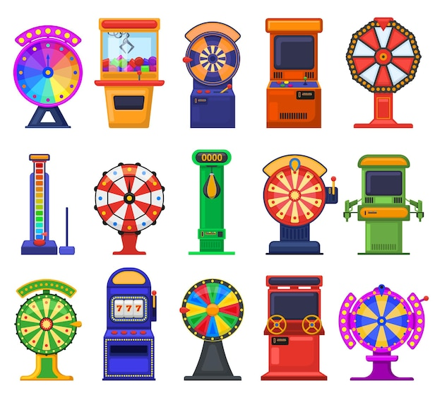 Máquinas caça-níqueis de jogos de azar. jogos de videogame, caça-níqueis de jogos de azar e conjunto de ilustração vetorial de entretenimento. máquinas de jogo retrô. entretenimento e jogos de azar, controlador de videogame Vetor Premium