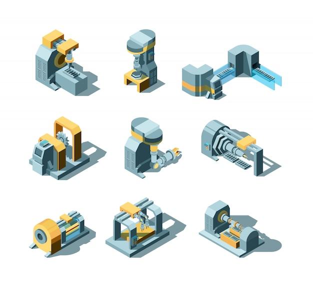 Máquinas da indústria. produção de máquinas trabalhando em fábrica de equipamentos, moinho, guindaste viu imagens isométricas da indústria pesada