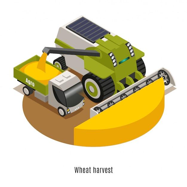 Máquinas de colheita de trigo com robótica agrícola automatizada combinam composição redonda isométrica contra fundo branco