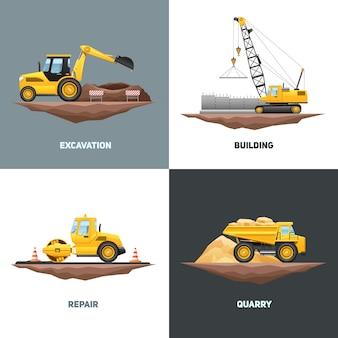 Máquinas de construção civil 4 design plano ícones com escavadeira guindaste amarelo