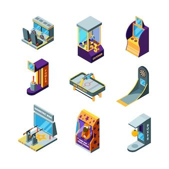 Máquinas de jogo. parque de diversões divertido para crianças arcade racing pinball drive game automat isometric