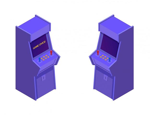Máquinas de jogos de arcade isométricas. consoles roxos retrô com dois joysticks e botões de controle.