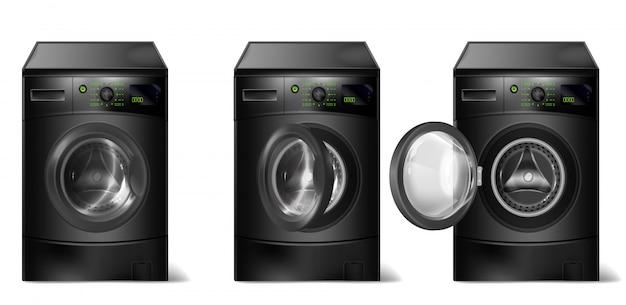 Máquinas de lavar roupa pretas realistas, lavadoras compactas com carregador frontal