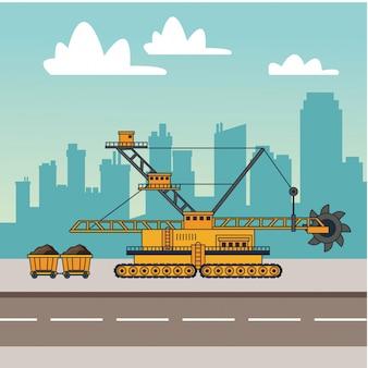 Máquinas de mineração e carrinhos de carroça