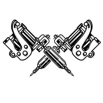 Máquinas de tatuagem cruzadas em fundo branco. elemento para cartaz, emblema, sinal, crachá. ilustração