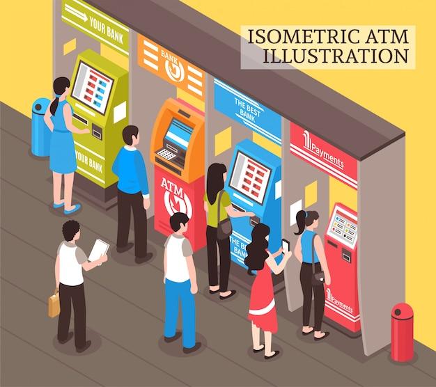 Máquinas de venda automática atm isométricas