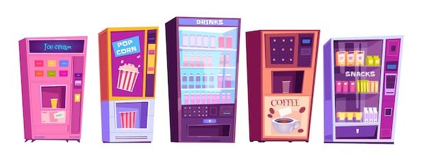 Máquinas de venda automática com pacotes de salgadinhos, pipoca, café e refrigerantes isolados no branco
