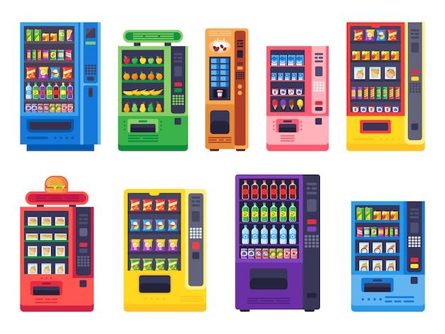 Máquinas de venda automática planas. comida de lanches, bebidas geladas e conjunto de ilustração vetorial máquina de doces