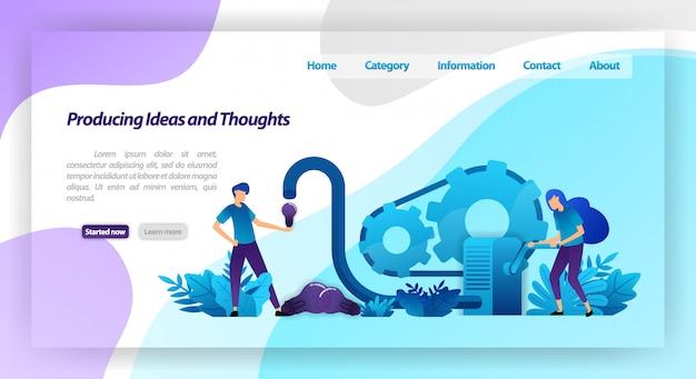 Máquinas para produzir ideias, pensamentos e inspiração, trabalho em equipe nas empresas. modelo de página da página de destino
