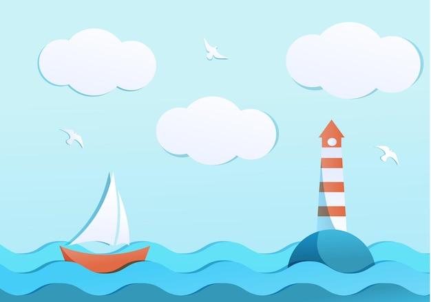 Mar calmo com veleiro vermelho e farol