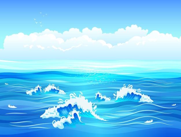 Mar calmo ou superfície do oceano com pequenas ondas e ilustração plana de céu azul