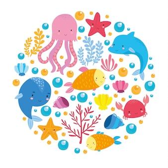 Mar conjunto com animais fofos