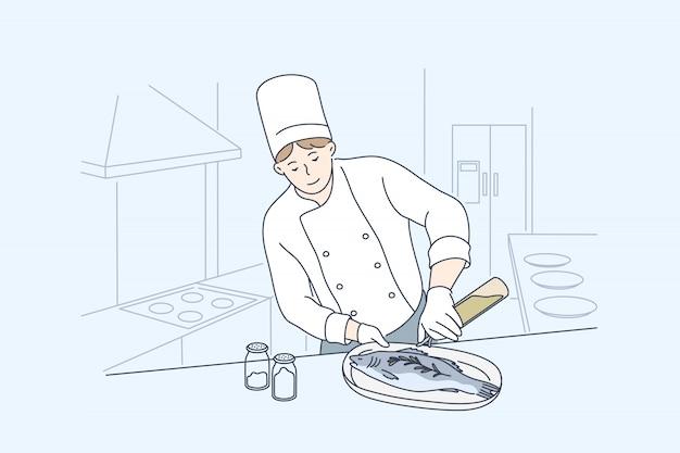 Mar, cozinha, culinária, conceito de peixe