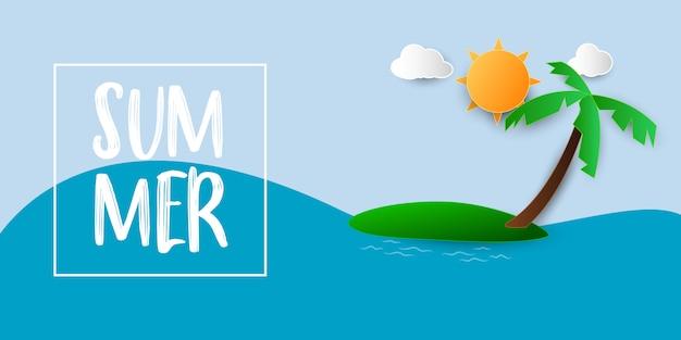 Mar de bandeira de venda verão com arte de papel de praia