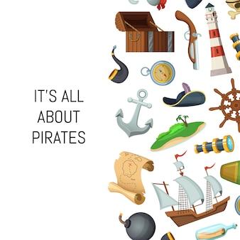 Mar dos desenhos animados piratas fundo com lugar para o texto