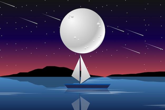 Mar e barco com paisagem da lua