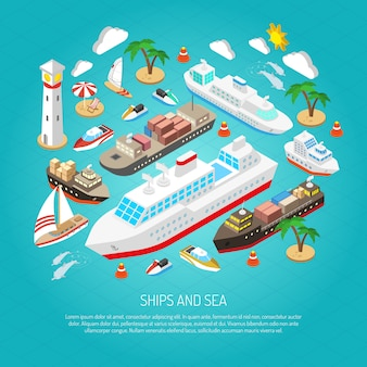 Mar e navios conceito
