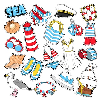 Mar férias mulher moda elementos e roupas para álbum de recortes, adesivos, adesivos, emblemas. doodle