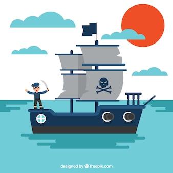 Mar, fundo, pirata, navio