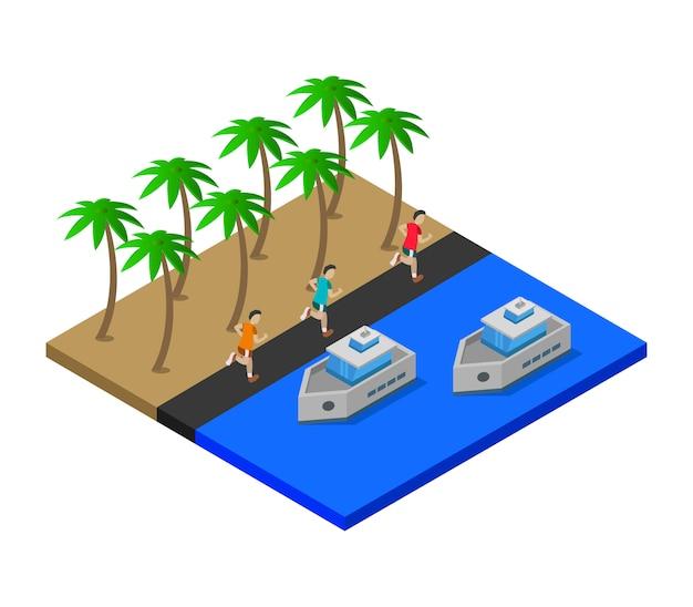 Mar isométrico com navios