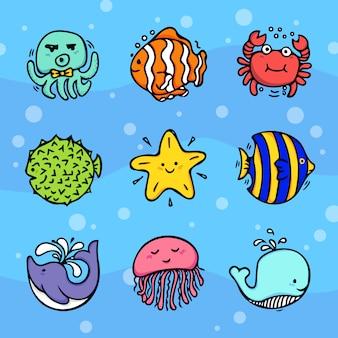 Mar ou vida marinha e náutica doodles