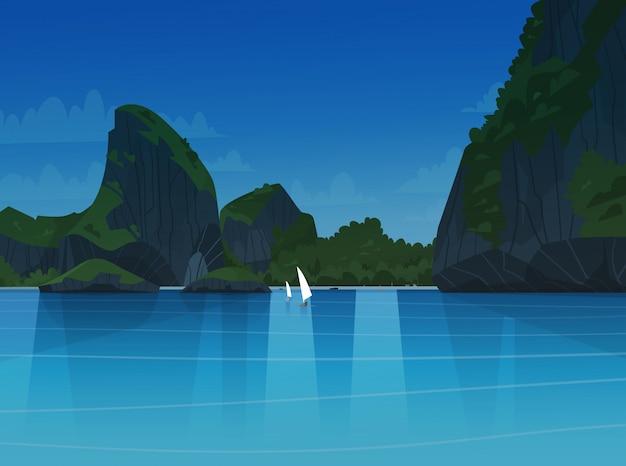 Mar paisagem noite bela praia asiática com montanha costa seaside ver summer seascape