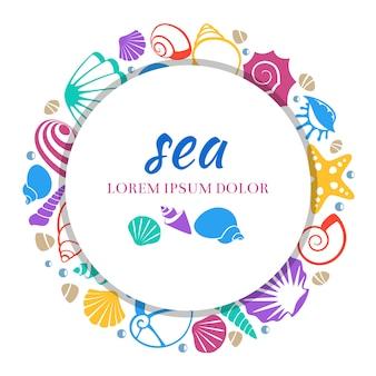 Mar redondo banner design - conceito de conchas coloridas