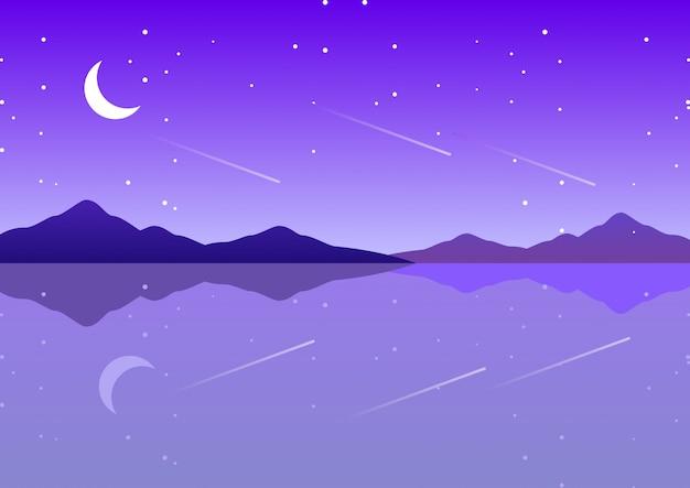 Mar roxo com a lua e a paisagem de fantasia de noite estrelada