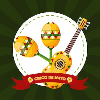 Maracas e guitarra, ilustração de cinco de maio, méxico