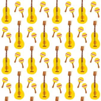 Maracas guitar seamless pattern. ilustração em vetor de fundo de música mexicana.